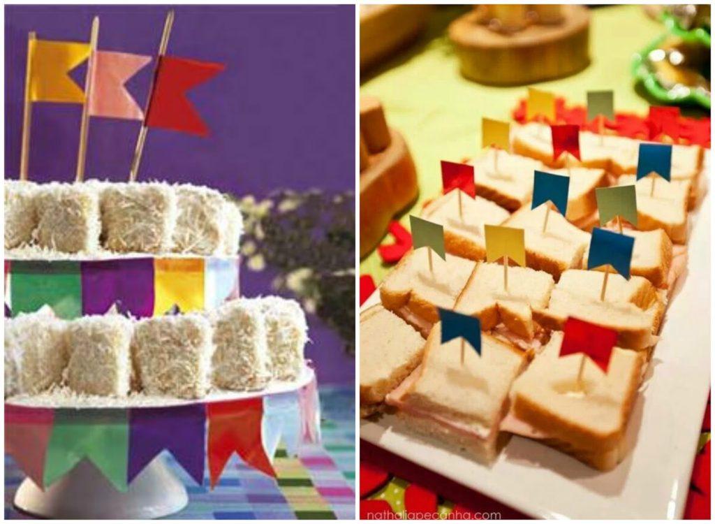 Bandeirolas coloridas para sanduíches e docinhos