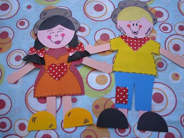 Bonecos de cartolina para mural