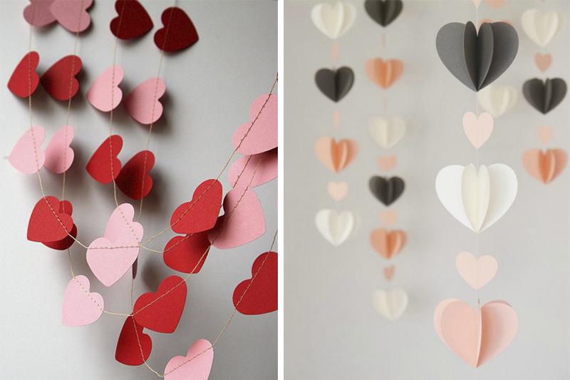 Corações de papel colorido