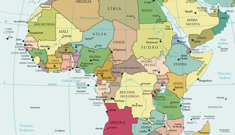 Mapa Da Africa Mapa Politico Atual Paises Capitais E Idiomas