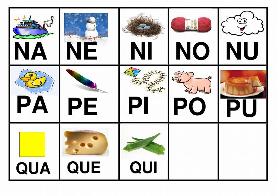 Faça cartões com sílabas