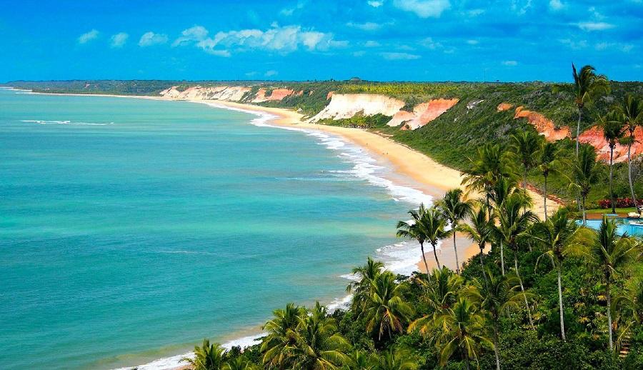 Praia em Trancoso, na Bahia