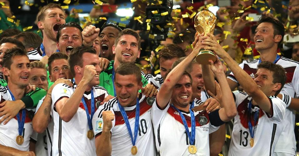 Seleção alemã, vencedora da Copa do Mundo de 2014, no Brasil