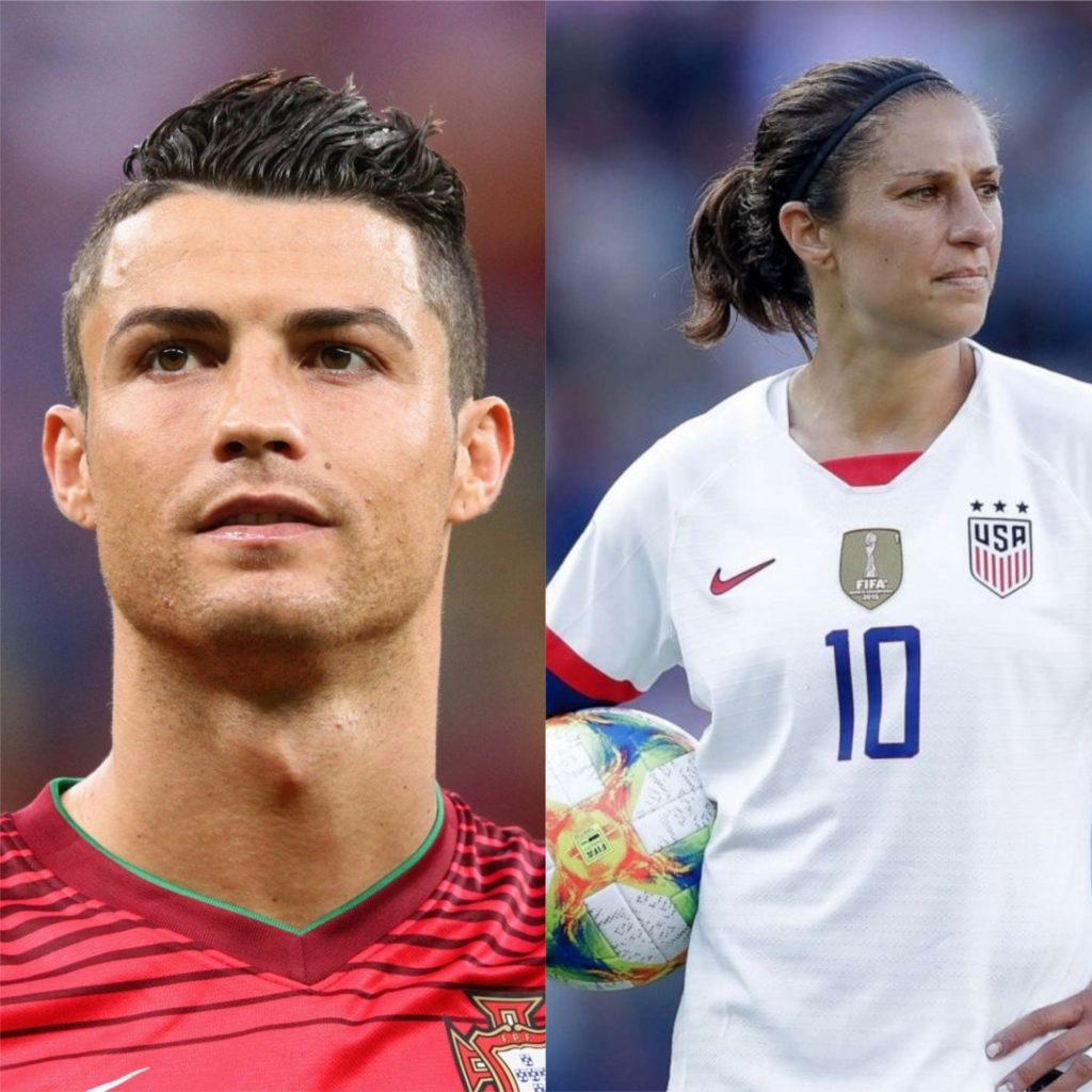 Cristiano Ronaldo e Carli Lloyd - Melhores jogadores de futebol do mundo
