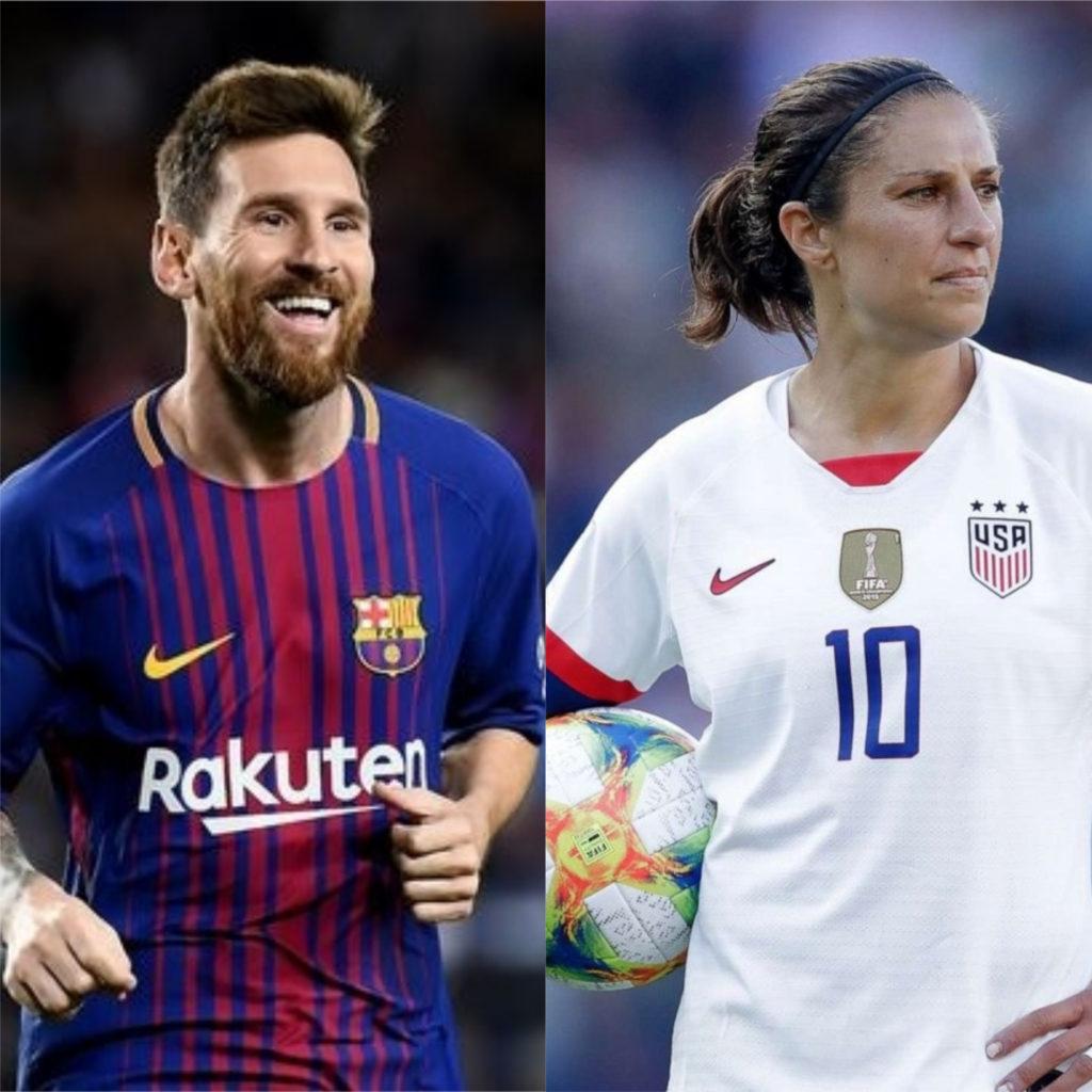 Lionel Messi e Carli Lloyd - Melhores jogadores de futebol do mundo