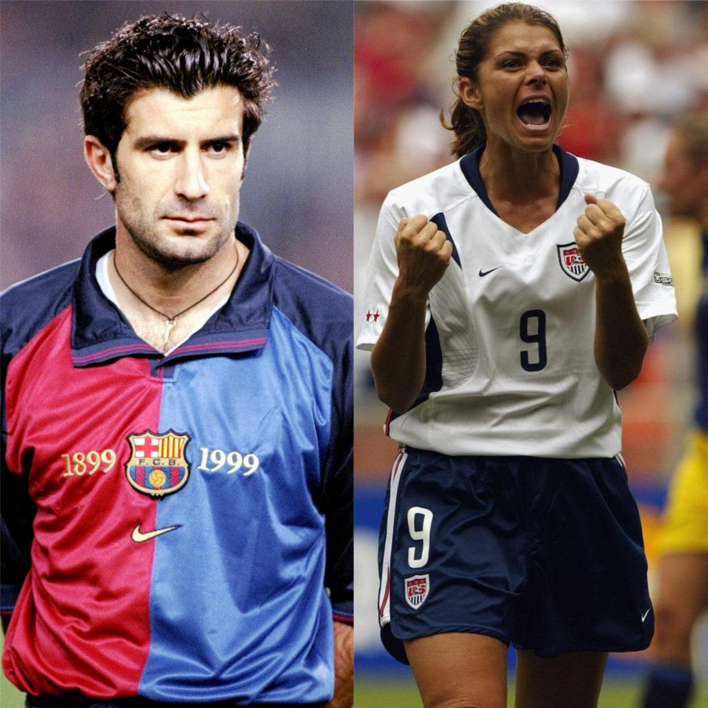 Luis Figo e Mia Hamm - Melhores jogadores de futebol do mundo