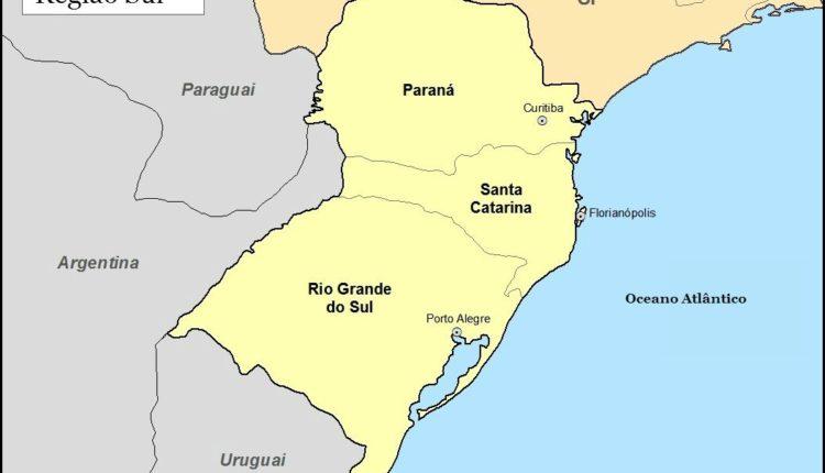 Mapa Região Sul do Brasil