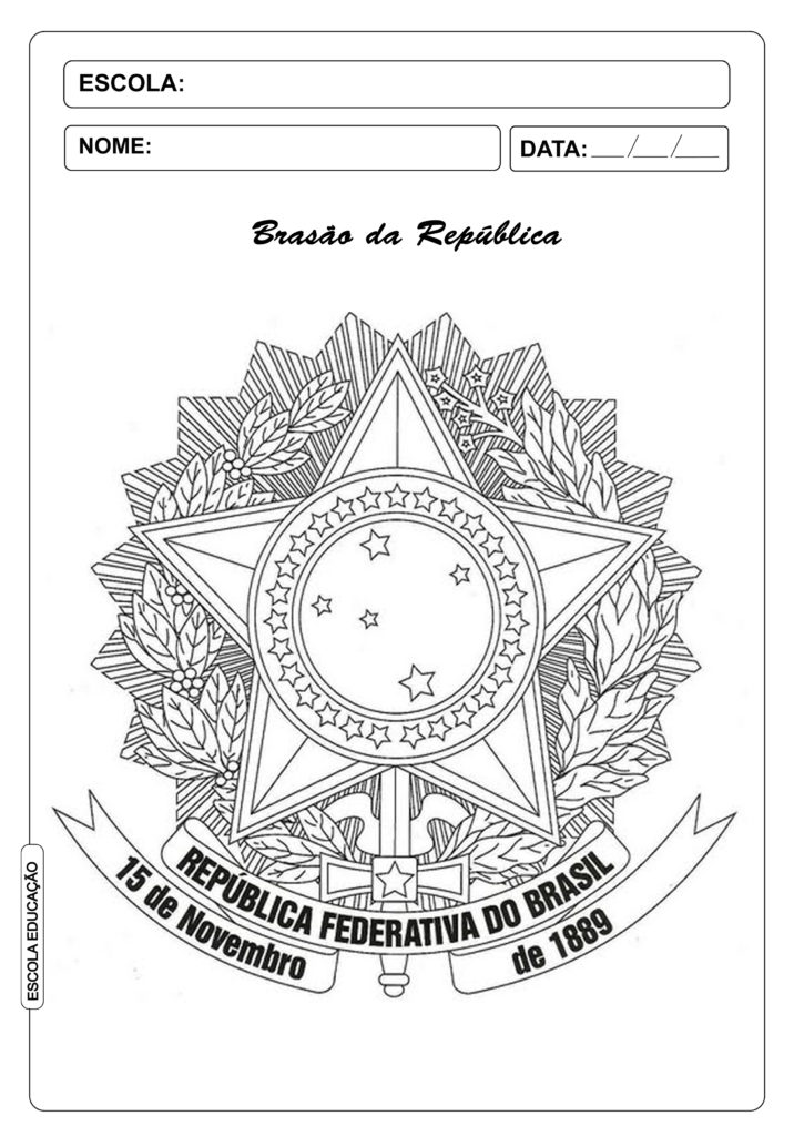 Brasão da República para colorir - Atividades para imprimir Proclamação da República