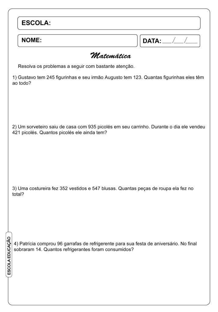 Problemas De Matematica Atividades Educativas Ineditas Para Imprimir