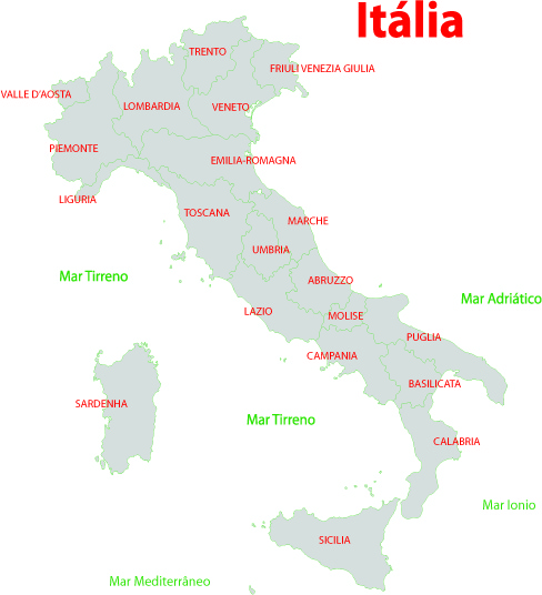 Mapa Regiões da Itália