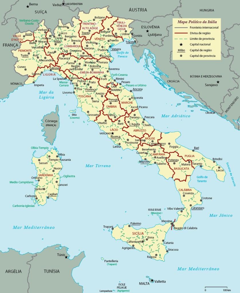 Mapa Político da Itália