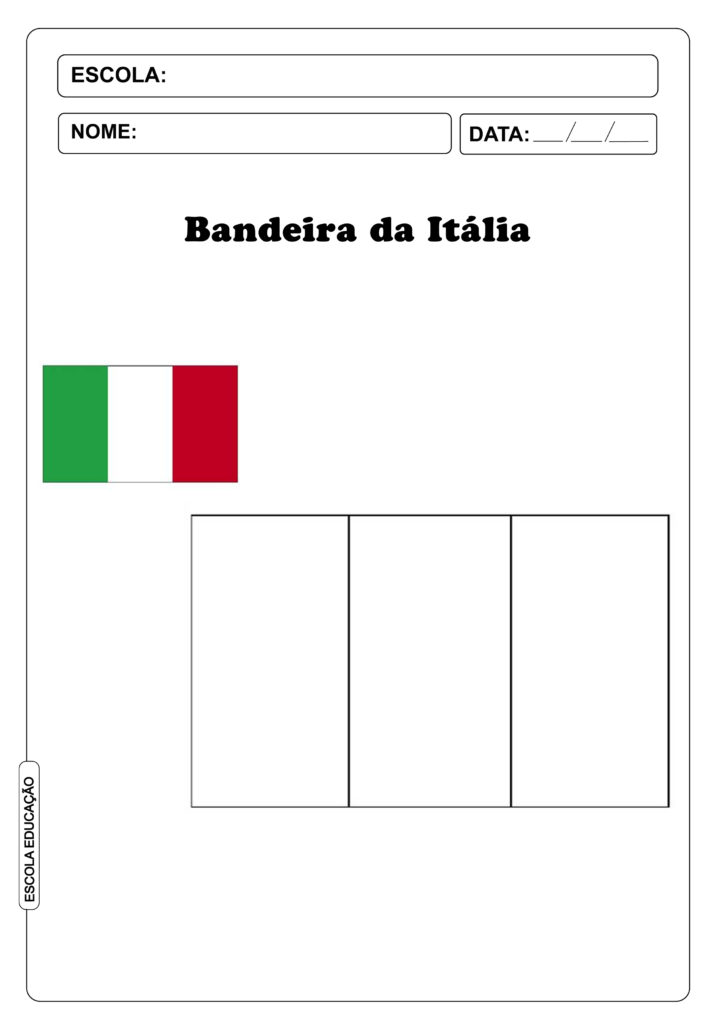 Bandeira da Itália para imprimir e colorir