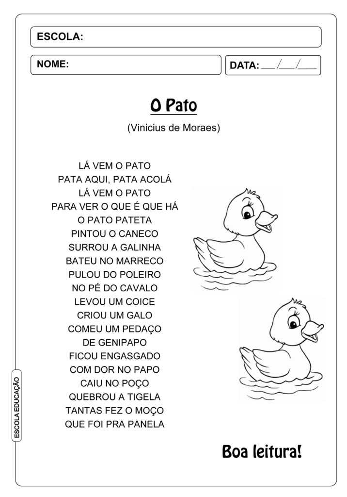 Cantigas de roda para leitura - Lá vem o pato