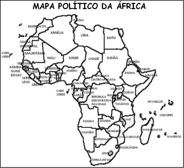 Mapa da África para colorir