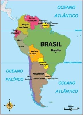 Mapa América do Sul países