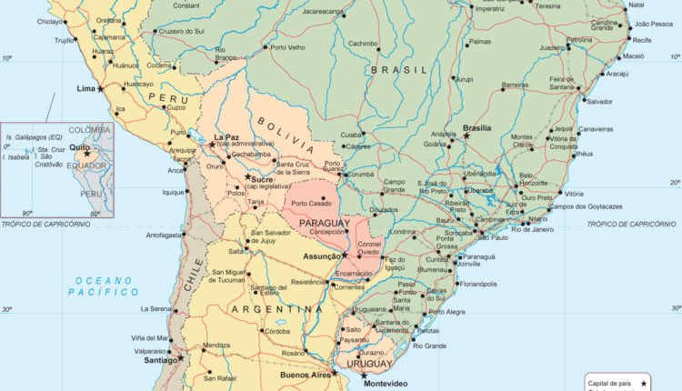 Mapa América do Sul cidades