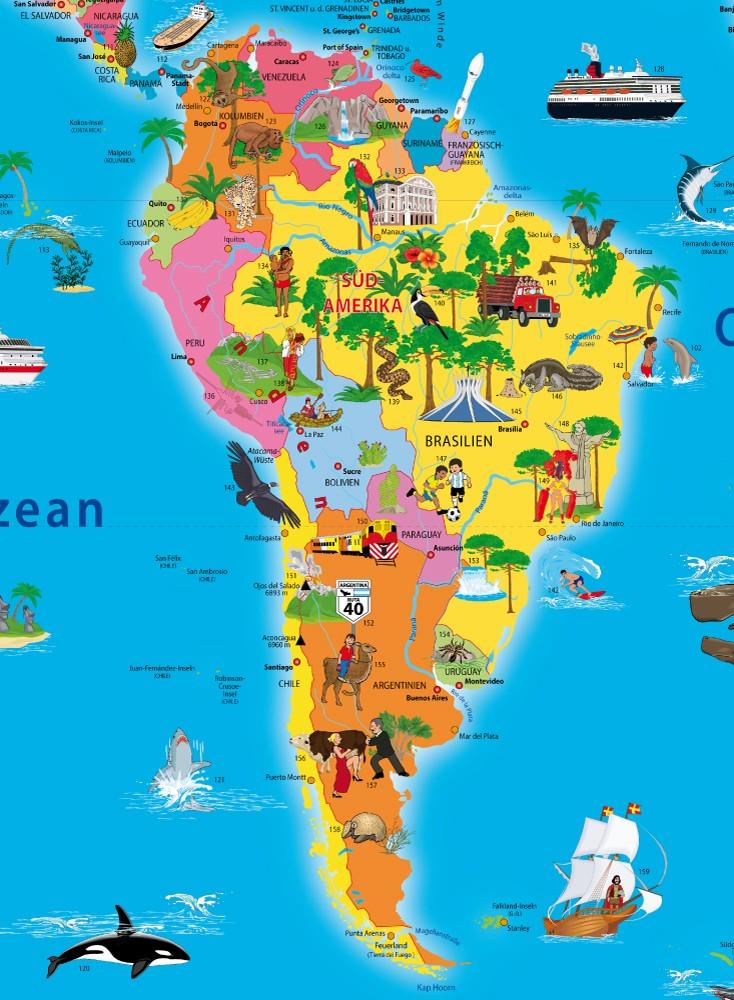 Mapa cultura e vegetação da América do Sul