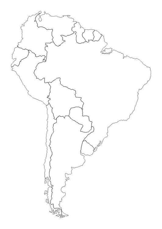 Mapa da América do Sul para colorir