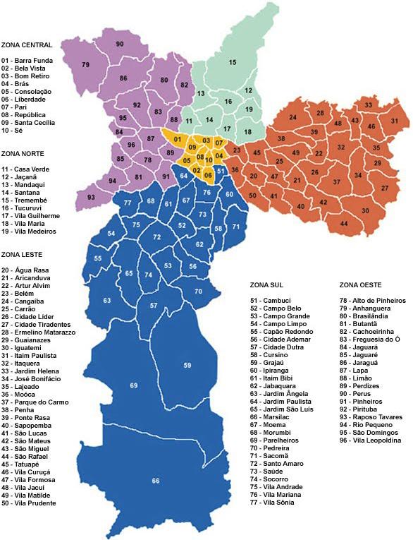 Mapa de São Paulo bairros