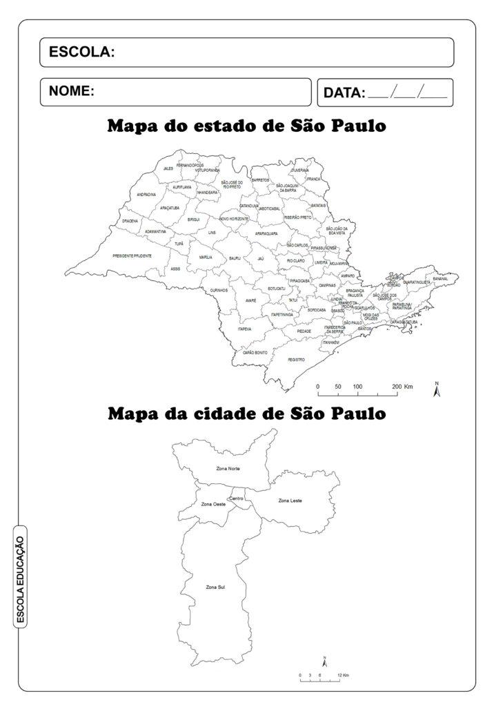 Mapa de São Paulo para imprimir e colorir