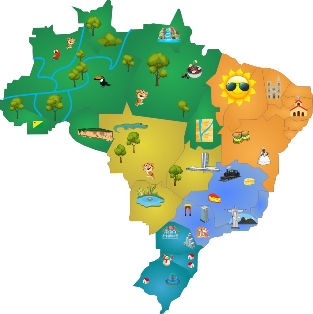 Mapa do Brasil cultura e vegetação