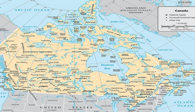 Mapa do Canadá com cidades