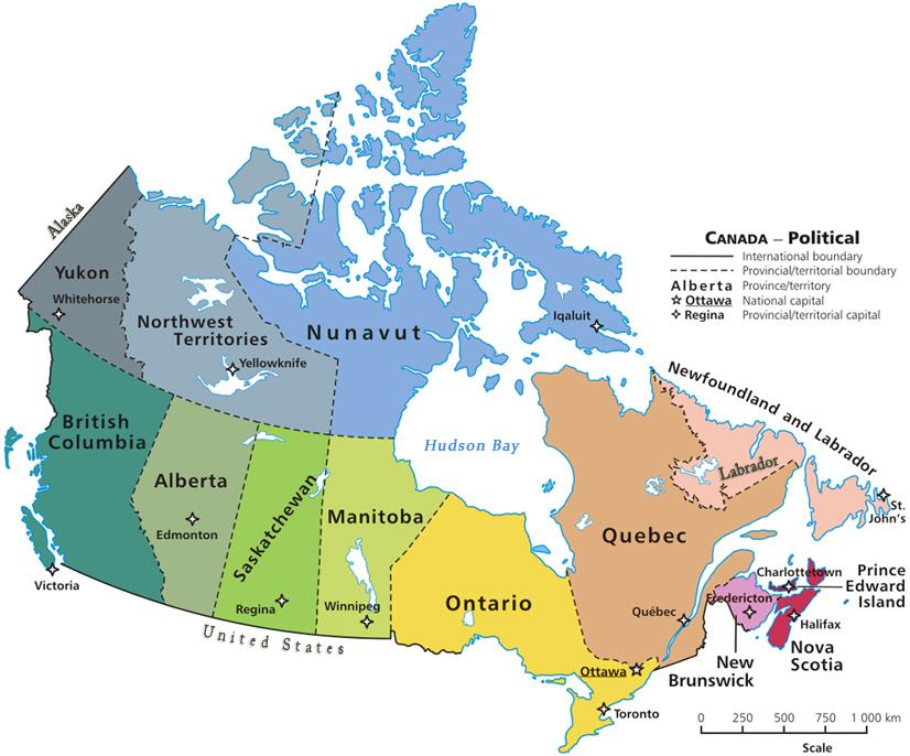 Mapa do Canadá com cidades e estados