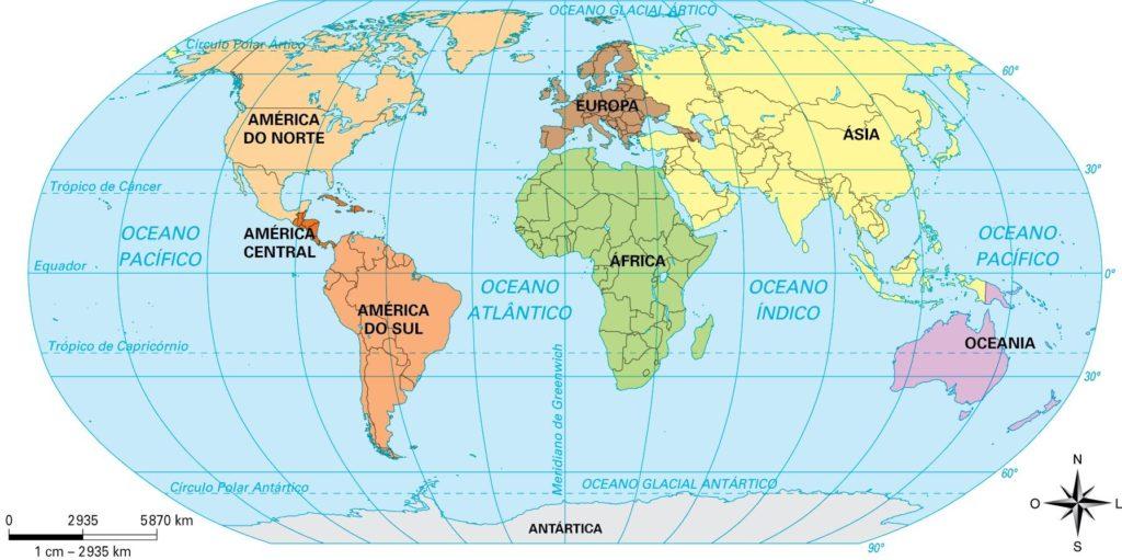 Mapa mundi continentes