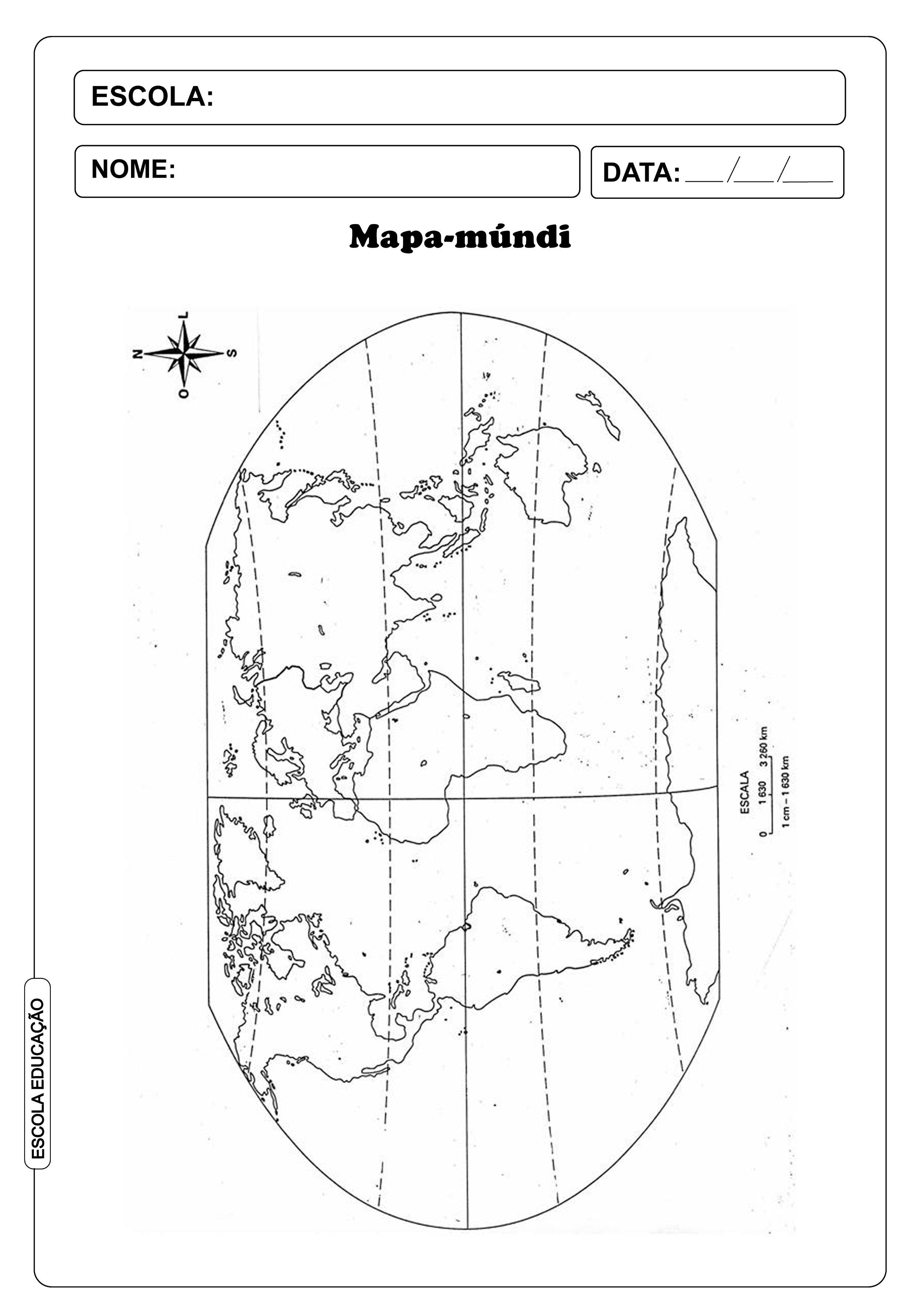 Mapa Mundi Para Imprimir E Colorir Escola Educacao