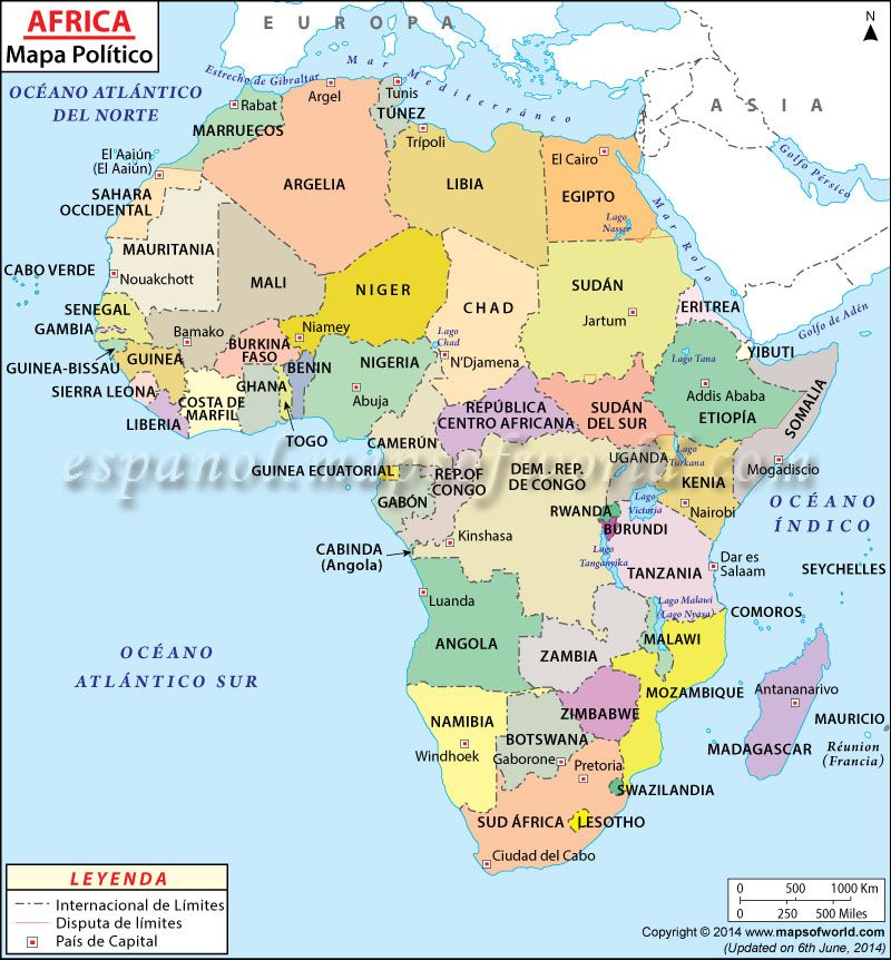 Mapa Político da África