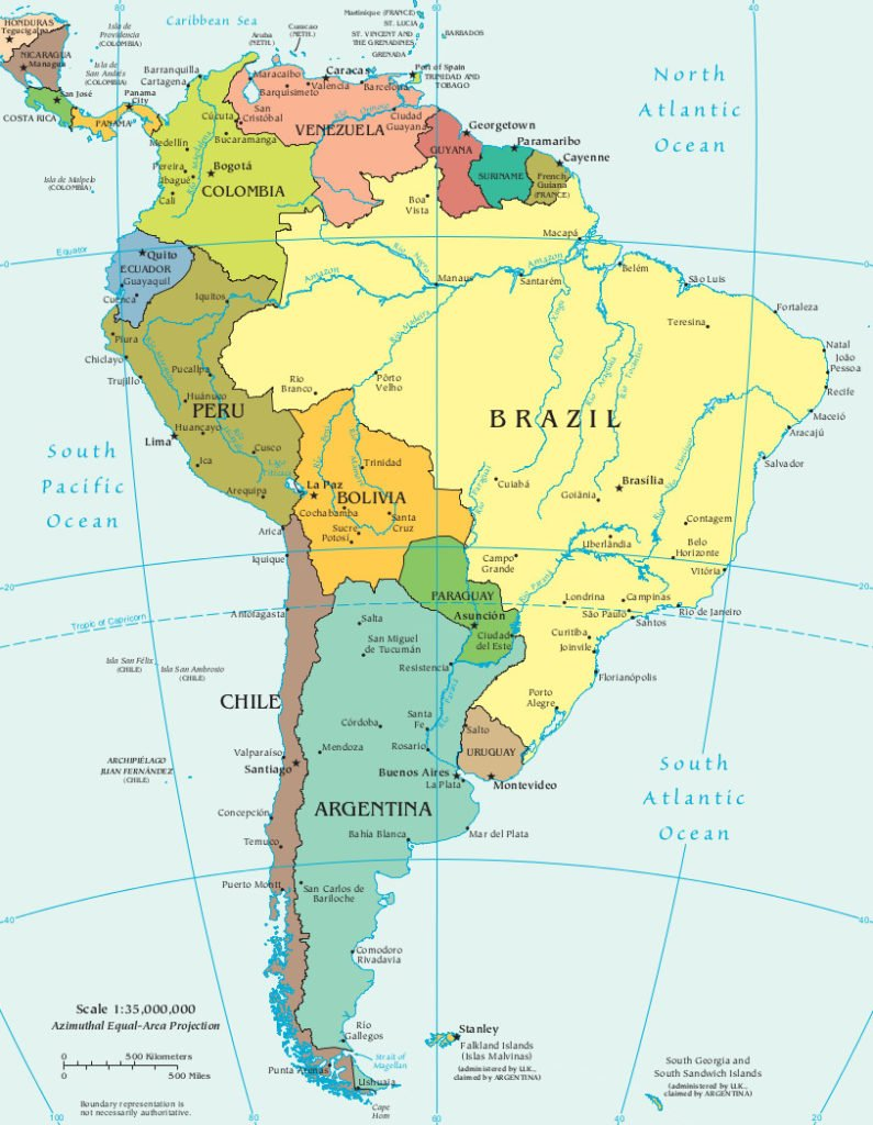 Mapa politico da América do Sul