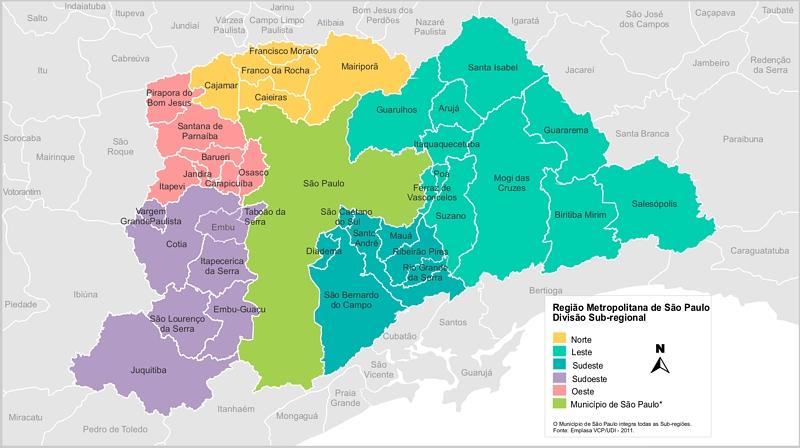 Mapa da região metropolitana de SP