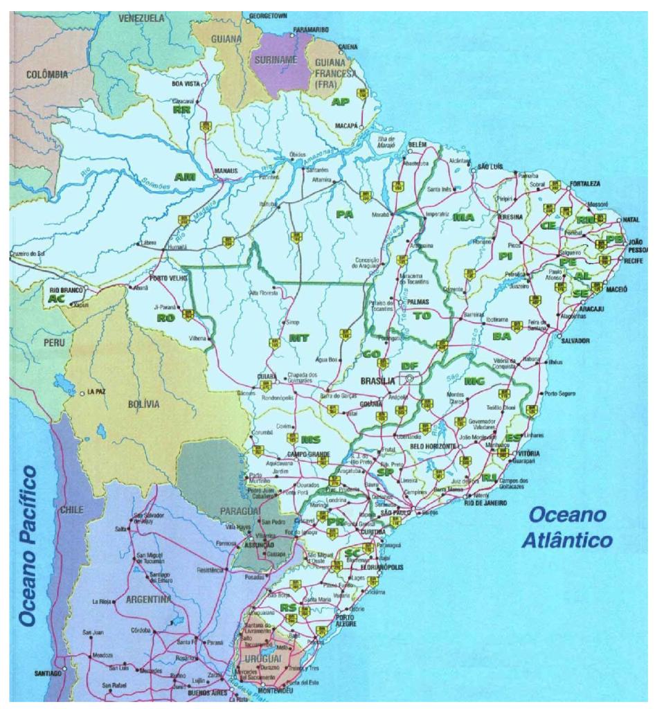 Mapa rodoviário brasileiro