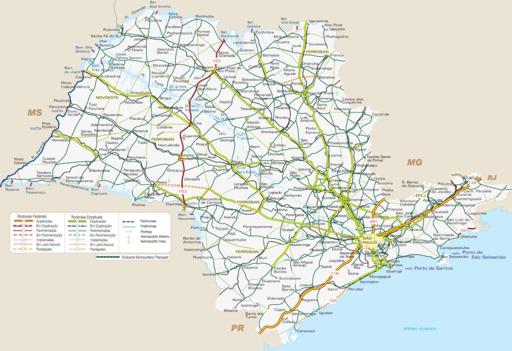 Mapa rodoviário de São Paulo