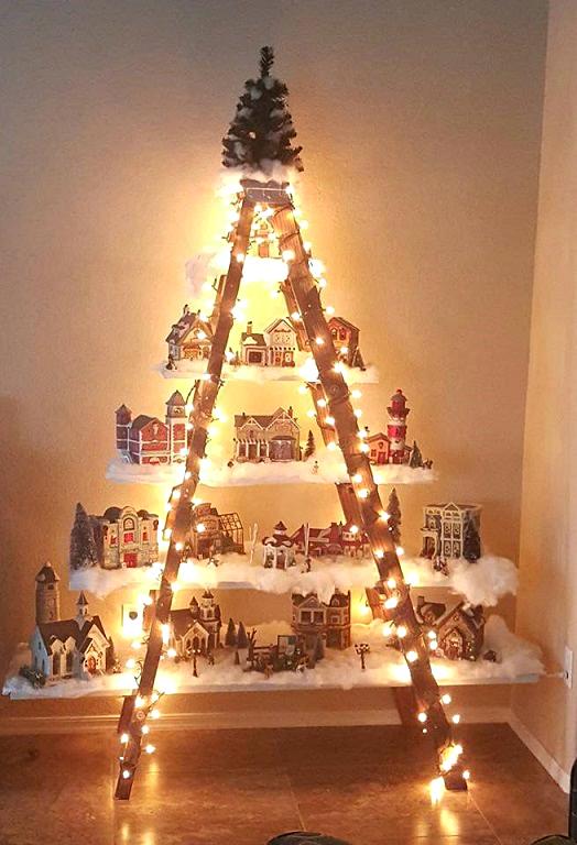 Árvore de Natal Artesanal - Prateleiras de madeira