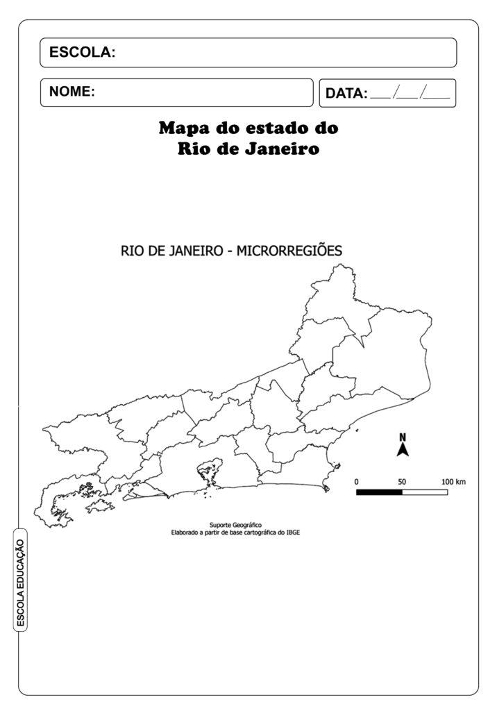 Mapa do Rio de Janeiro para imprimir e colorir