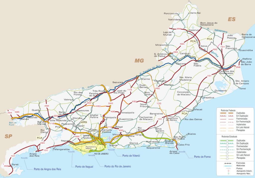 mapa rodoviário rio de janeiro