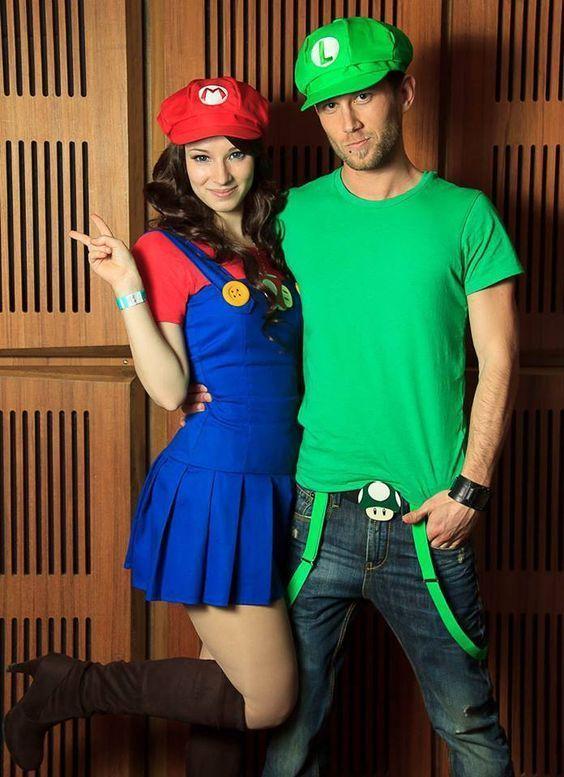 Fantasia de carnaval de Luigi e Mario