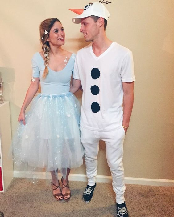 Fantasia de carnaval de Elsa e Olaf