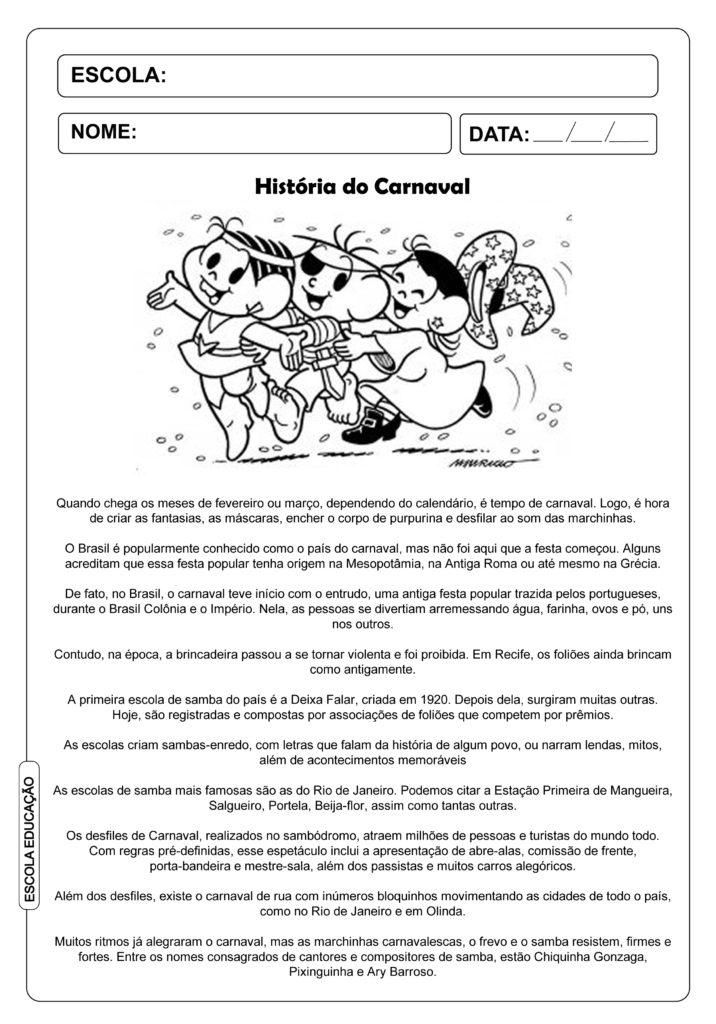 História do Carnaval para Educação Infantil