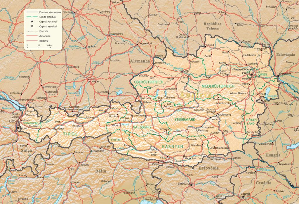 mapa áustria
