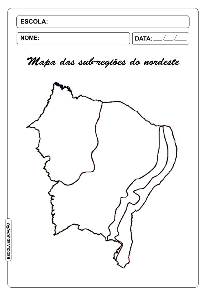 Mapa das sub-regiões do nordeste para colorir