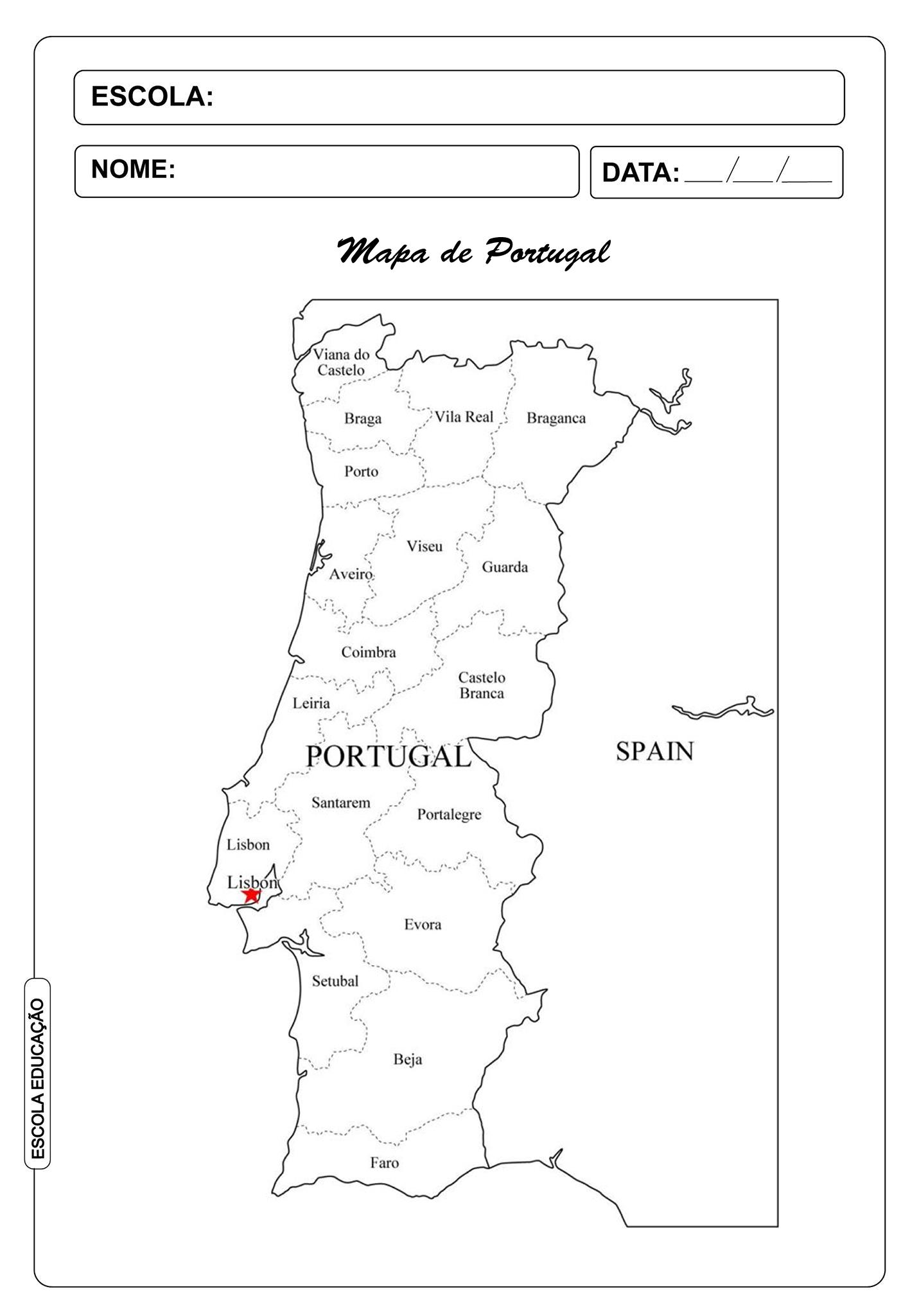 Mapa De Portugal Para Imprimir E Colorir Escola Educacao