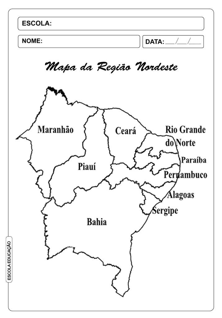 Mapa do nordeste para imprimir e colorir