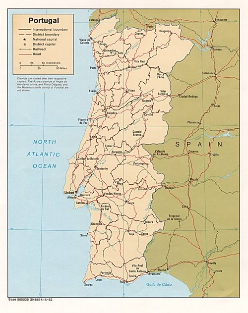 mapa Portugal e Espanha