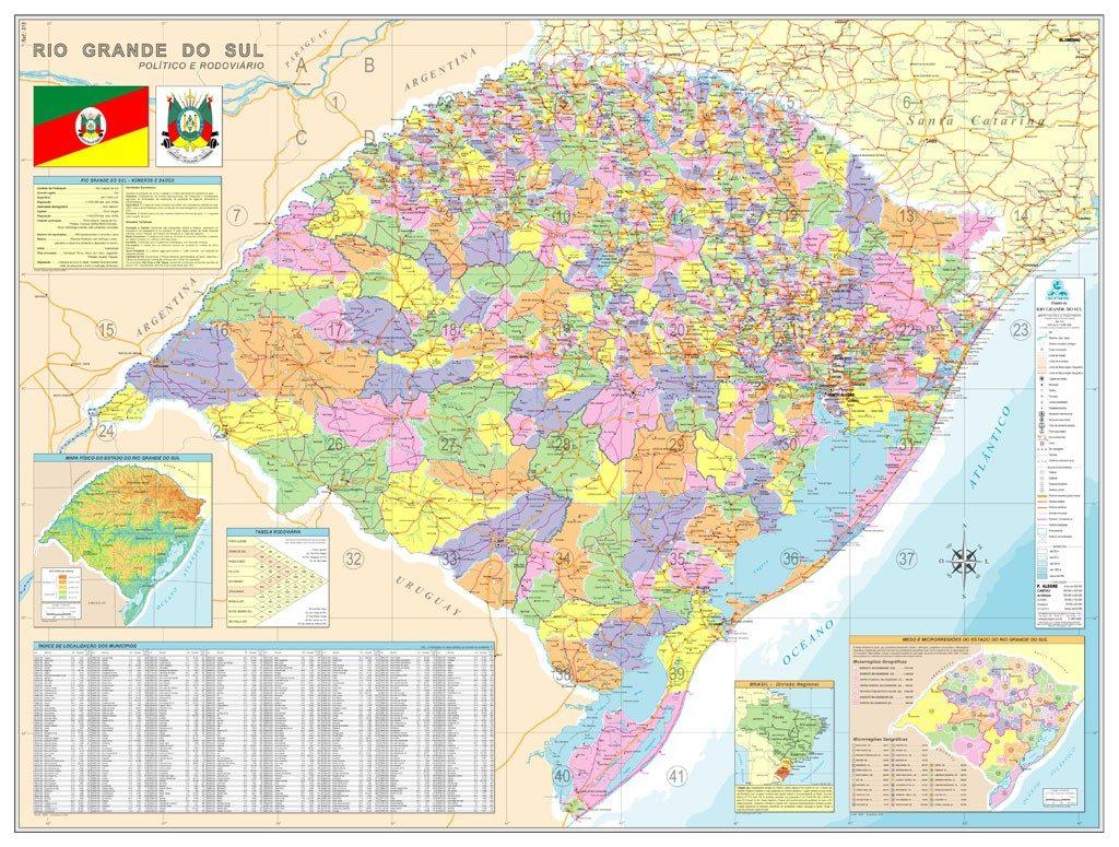 mapa politico e rodoviario rio grande do sul