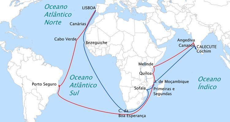 Périplo Africano - A linha azul corresponde ao caminho feito por Vasco da Gama