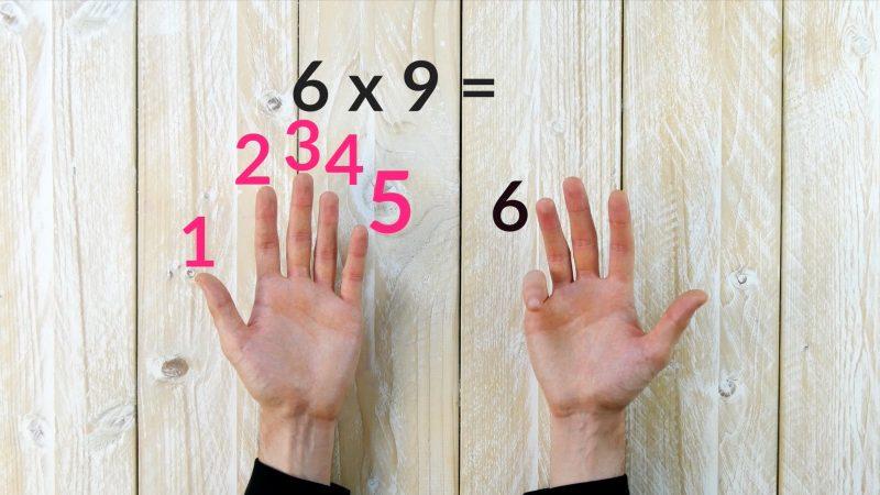 Tabuada de 9 com as mãos
