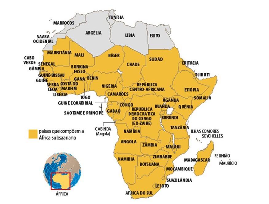 Mapa da África Subsaariana