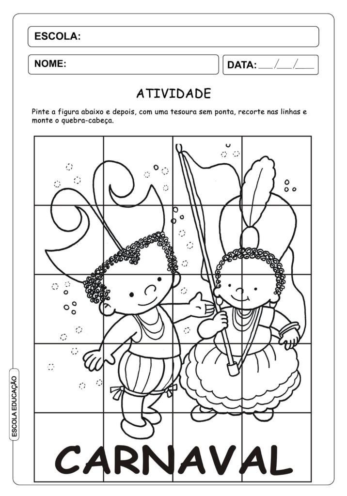 Atividade de Carnaval para imprimir - Educação Infantil